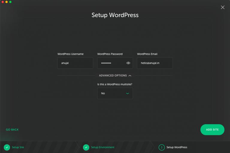 setup wordpress in local by flywheel